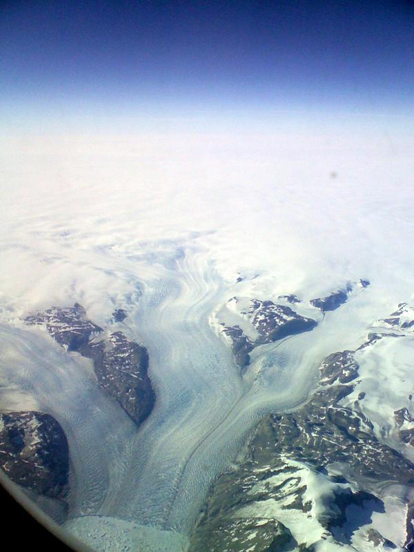 View from the plane over Greenland