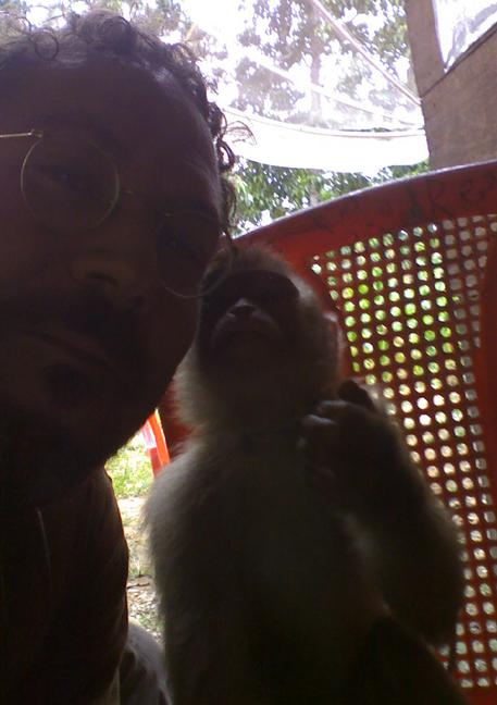 picture of Wade Schuman and the Pig Tailed Macaque in Indonesia